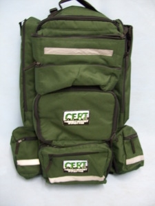 CERT 5 Compartments C.E.R.T Logo Green Backpack